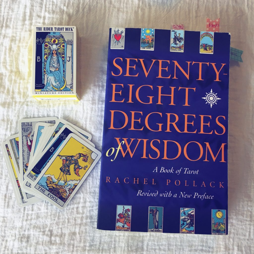 Rider-Waite-Smith Tarot mini deck and Seventy-Eight Degrees of Wisdom: A Book of Tarot by Rachel Pollack