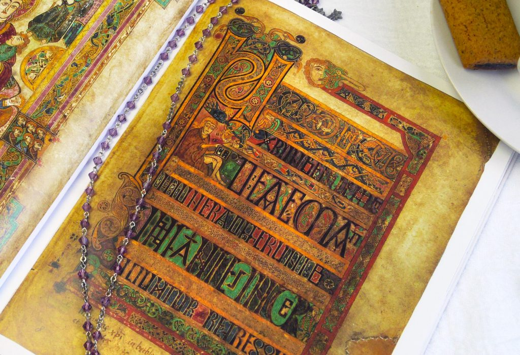 detail page of The Book of Kells. Illuminated manuscript, calligraphy