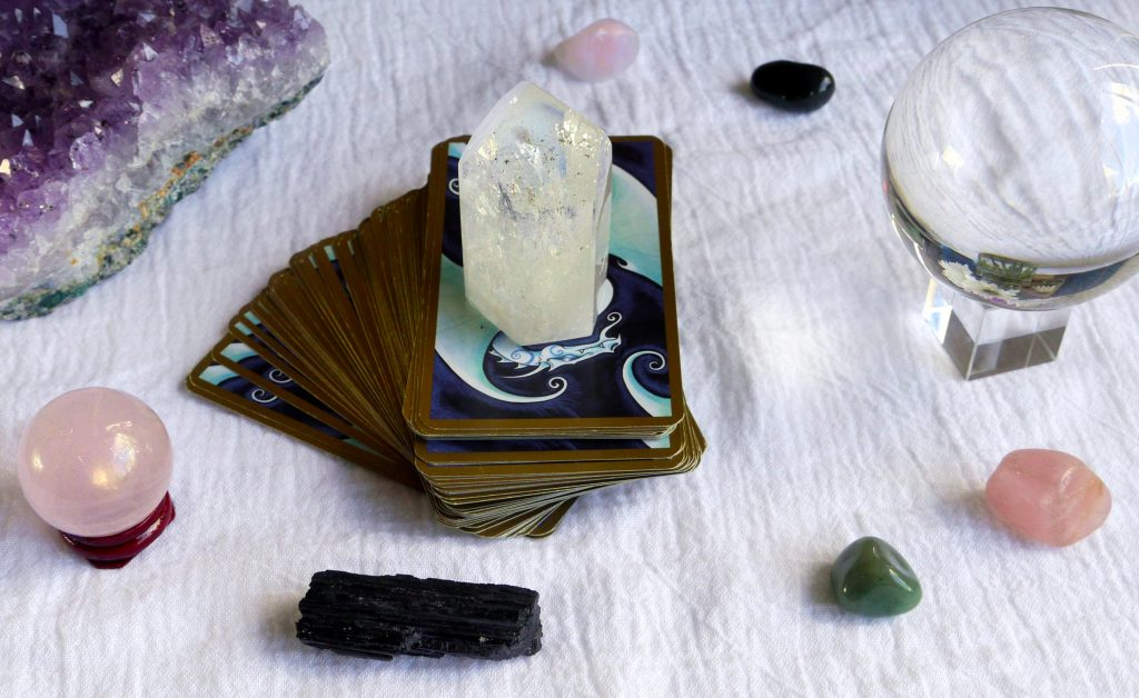 Fantastical Tarot, quartz crystal, black tourmaline, amethyst, crystal ball