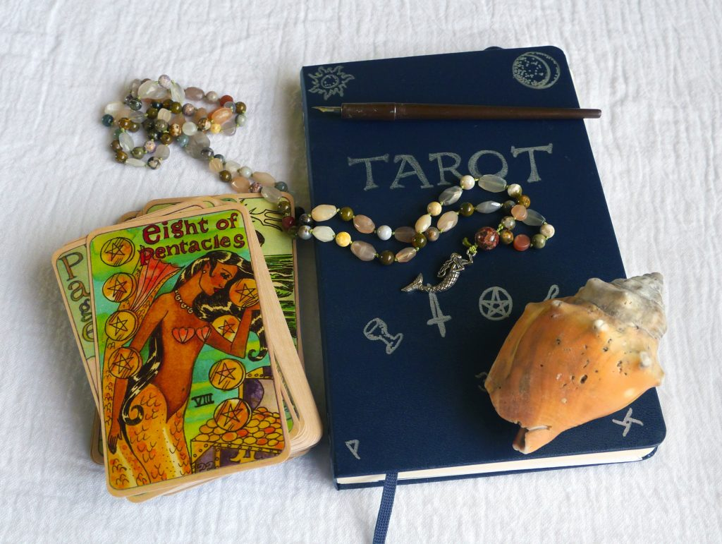 Dame Darcy's Mermaid Tarot, tarot journal, Eight of Pentacles, papa male, seashell