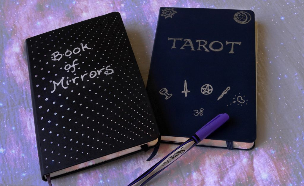 Moleskine journal, Book of Mirrors, Tarot Journal, magick book with Sharpie pen on a galaxy cloth.