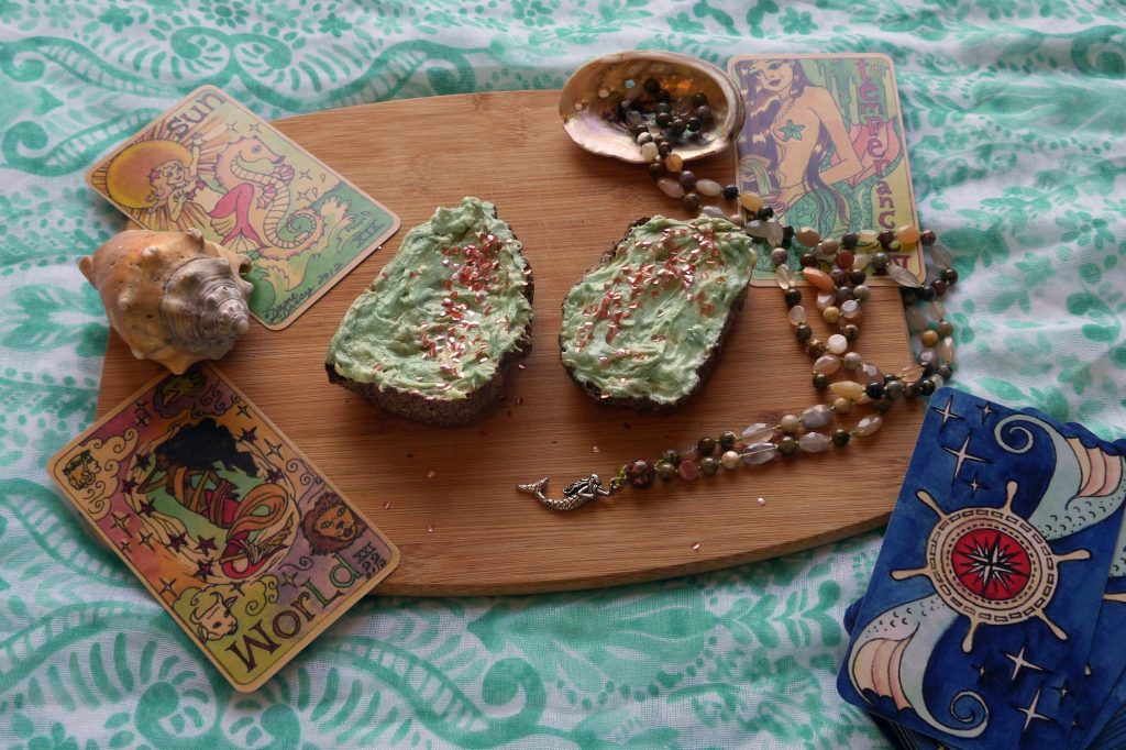 Mermaid toast, mermaid tarot cards, seashells, mermaid mala