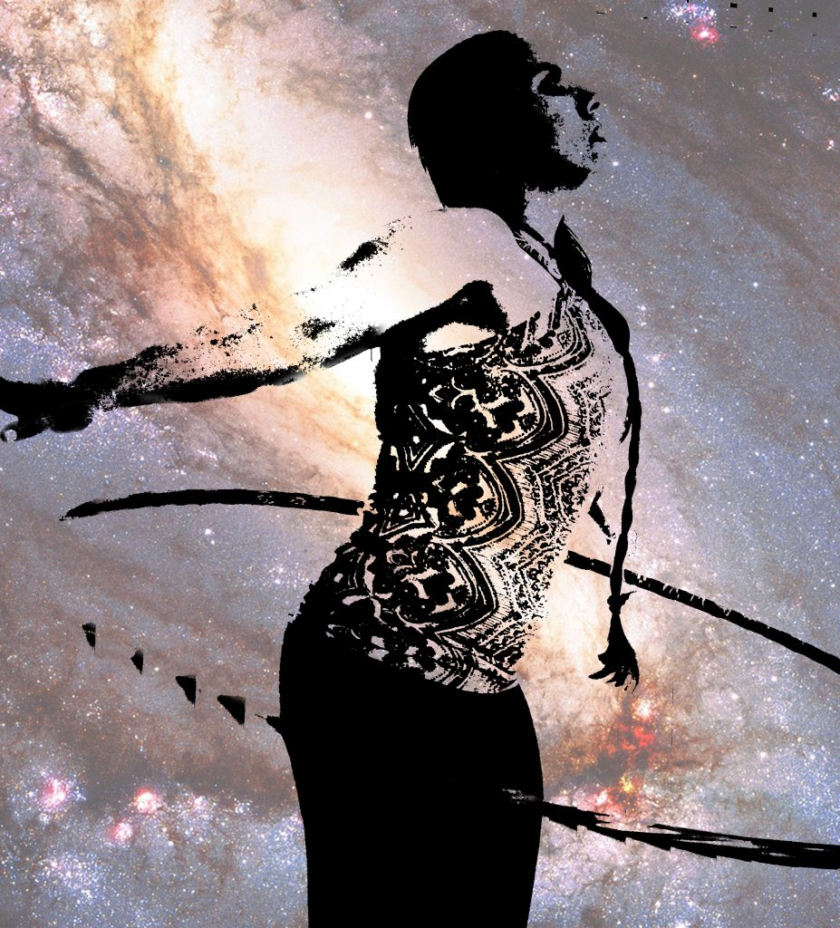 Woman silhouette hoop dancing in a galaxy. Hoop dance meditation. Meditation tip: moving meditation