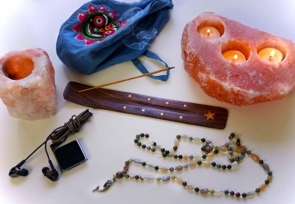Meditation props: incense, iPod, meditation music, cabdles, japa mala beads, mala beads, prayer beads, sri jagannath