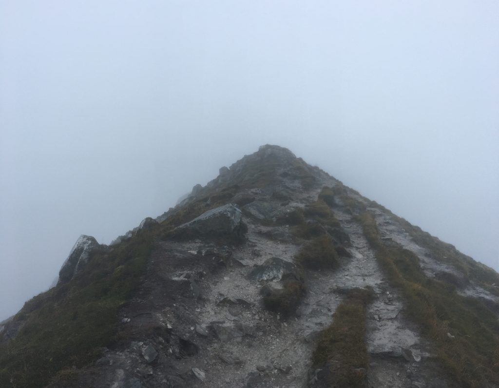 Dense fog on top of Mt. Errigal.