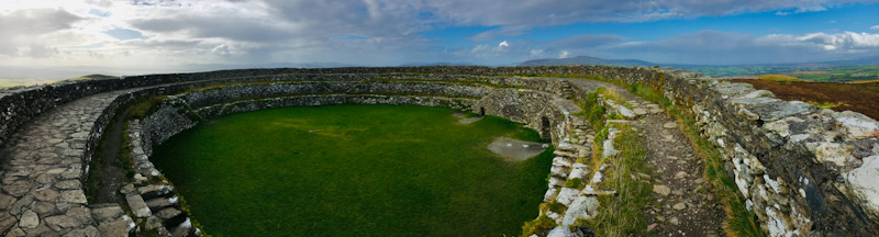 The inside of Grianán of Aileach from the tiered walls.