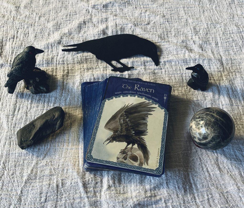 The Raven, Wisdom of Avalon Oracle Card, Ravens, larvikite, black moonstone