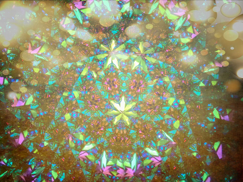 Fractured image of the inside of a kaleidoscope.